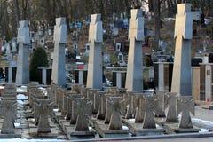 Vista della necropoli di Lychakiv, un cimitero storico a Leopoli, Ucraina Fotografia Stock Libera da Diritti