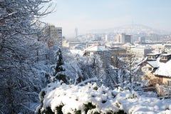 Vista della neve di Sarajevo Fotografia Stock