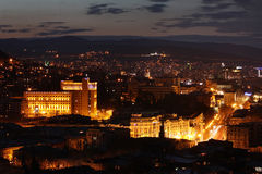 Vista della notte Tbilisi Fotografie Stock Libere da Diritti