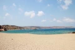Vista della Palm Beach sbalorditiva di Vai con il blu, acqua del turchese su Creta immagini stock libere da diritti