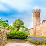 Vista della parete difensiva a Obernai, Bas Rhin, l'Alsazia Francia fotografia stock