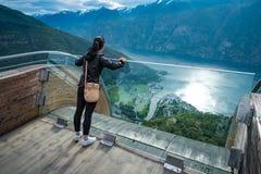Vista della piattaforma di osservazione della Norvegia della natura dell'allerta di Stegastein bella Immagini Stock Libere da Diritti