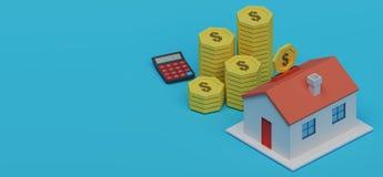 Vista della pila della moneta con la casa rappresentazione 3d royalty illustrazione gratis