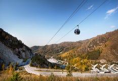 Vista della pista di pattinaggio di Medey a Almaty Immagine Stock