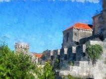 Vista della pittura dell'acquerello della fortezza; manipolazione della foto Immagine Stock
