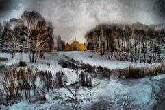 Vista della pittura a olio della proprietà nobile Fotografia Stock
