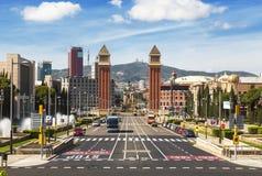 Vista della plaza de Espana catalonia Fotografia Stock