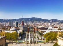 Vista della plaza de espana dalla montagna Montjuic, Catalogna, Fotografia Stock Libera da Diritti