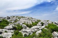Vista della primavera della riserva naturale di EL Torcal immagini stock libere da diritti