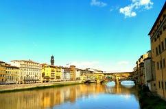 Vista della primavera di Ponte Vecchio Fotografia Stock Libera da Diritti