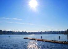 Vista della riva del lago Fotografie Stock Libere da Diritti
