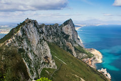 Vista della roccia di Gibilterra Fotografie Stock