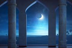 Vista della scena di notte con luce della luna Immagini Stock