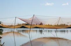 Vista della scena rurale con le reti da pesca in Hoi An, Vietnam Immagini Stock Libere da Diritti