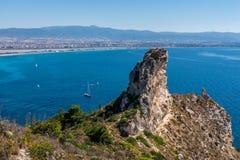 Vista della sella del diavolo su Cagliari, Sardegna fotografia stock libera da diritti
