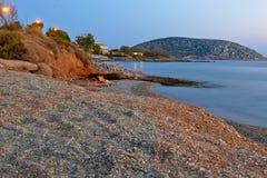 Vista della spiaggia alla sera in Grecia Fotografia Stock