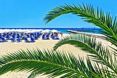 Vista della spiaggia con una gente di resto, le chaise-lounge del sole ed i parasoli Fotografia Stock Libera da Diritti