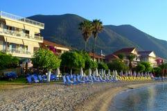 Vista della spiaggia dell'isola di Leucade, Grecia Fotografia Stock Libera da Diritti