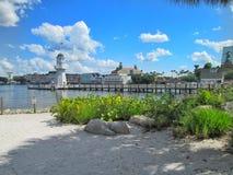 Vista della spiaggia dell'yacht club di Disneys Immagine Stock