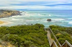 Vista della spiaggia della parte posteriore di Sorrento dall'allerta di Coppins Fotografia Stock Libera da Diritti