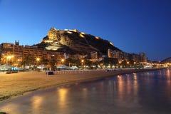 Vista della spiaggia di Alicante, Spagna fotografia stock