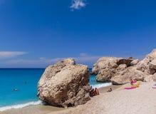 Vista della spiaggia di Kathisma fotografia stock libera da diritti