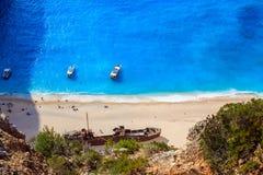 Vista della spiaggia di Navagio Fotografia Stock Libera da Diritti