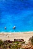 Vista della spiaggia di Navagio Fotografie Stock Libere da Diritti