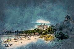 Vista della spiaggia di Palma de Mallorca Fotografie Stock