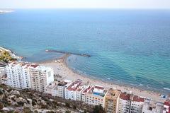 Vista della spiaggia di Postiguet in Alicante Immagini Stock Libere da Diritti
