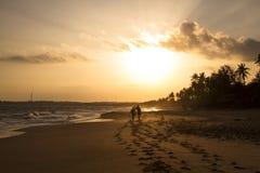 Vista della spiaggia di tramonto immagine stock