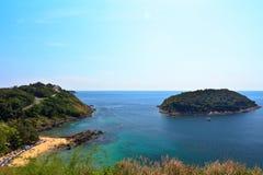 Vista della spiaggia di Yanui e del KOH Kaeo Noi, Phuket Fotografie Stock