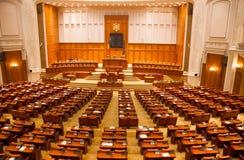 Vista della stanza di sessione della Camera dei Deputati della Romania Immagini Stock Libere da Diritti