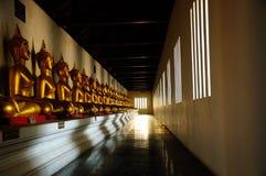 Vista della statua dorata di Buddha Fotografia Stock Libera da Diritti