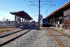 Vista della stazione ferroviaria in Valparaiso, Cile fotografie stock
