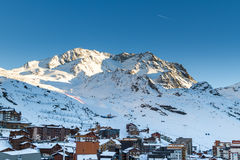 Vista della stazione sciistica di tre valli, Francia di Val Thorens Fotografie Stock