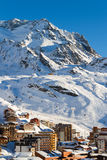 Vista della stazione sciistica di tre valli, Francia di Val Thorens Immagine Stock Libera da Diritti