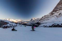 Vista della stazione sciistica Jungfrau Wengen in Svizzera Immagini Stock