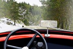 Vista della strada con gli alberi e la neve i immagine stock libera da diritti