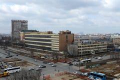 Vista della strada principale di Shchelkovo nell'area della via dell'Assemblea a Mosca Fotografie Stock