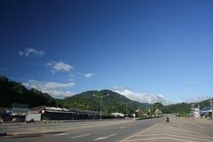 Vista della strada della strada principale nessuna 118 da Chiangmai a Chiangrai Fotografia Stock Libera da Diritti