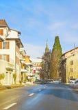 Vista della strada in una città nell'inverno Svizzera Immagine Stock Libera da Diritti