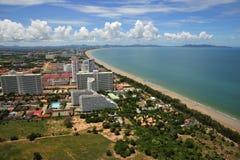 Vista della Tailandia della baia di Pattaya e di Jomtien fotografia stock libera da diritti