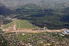Vista della terra dall'aeroplano Fotografie Stock