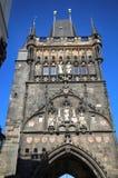 Vista della torre del ponte di Città Vecchia a Praga, repubblica Ceca fotografia stock