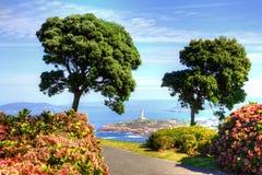 Vista della torre di Ercole da Monte de San Pedro Park di La Coruna, Spagna n fotografia stock libera da diritti