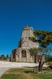 Vista della torre di Magne Magna di giro con cielo blu, nell'alta parte dei giardini della fontana, a Nimes Immagini Stock
