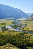 Vista della valle del fiume Chulyshman di Altai Fotografia Stock Libera da Diritti