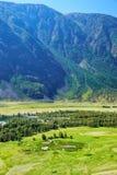 Vista della valle del fiume Chulyshman di Altai dal pendio della m. Immagini Stock