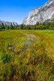 Vista della valle del Yosemite un giorno pieno di sole Immagine Stock